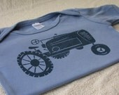 Toddler Tractor T-shirt. Hand-dyed Shirt. Short Sleeve. Lino Cut Block Print. 18 to 24 Month Size.