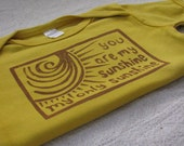 You Are My Sunshine Shirt, Hand-Dyed, Hand-Printed - 18-24 Month Size
