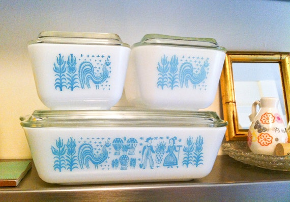RESERVED Listing for FiggyandWink  -- Vintage Turquoise Butterprint Pyrex Glass Storage