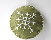 Green and White Snowflake Handstitched Felt Ornament