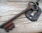 Antique French Key and Farmhouse Keyhole Steampunk Found Object Upcycled Necklace