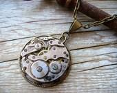 STEAMPUNK Necklace Basic Brass Upcycled Clockwork