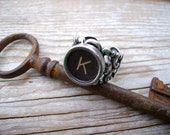 Steampunk Ring - Typewriter Key - Letter K - Name Ring - Custom Initial Ring - Adjustable Ring