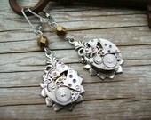 Steampunk Earrings Watch Movement Clockwork Garnet Silver Gold