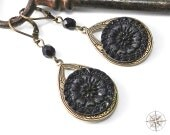Victorian Mourning Button Earrings Antique Button Earrings Ebony Blossom Victorian Button Large Teardrop Earring by Compass Rose Design