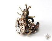 Steampunk Ring Brass and Copper Clockwork Insect Watch Movement Ring by Compass Rose Design