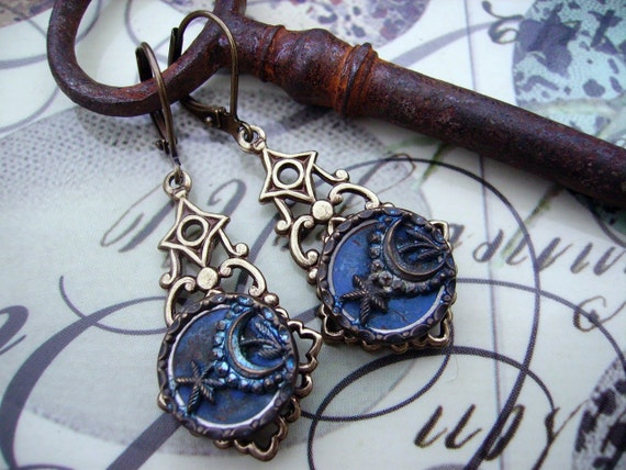 Sparkling BLue Moon Victorian Button Earrings