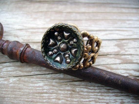 Victorian Button Star Design Ring circa 1880 Handmade by Compass Rose Design