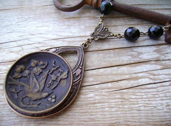 Victorian Button Necklace - Ornate Black Swallow Large Antique Button Necklace - circa 1880