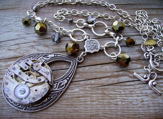 Handmade Steampunk Jewelry Silver Clockwork Bridal Necklace with Silver Gold Drop Crystal Beads