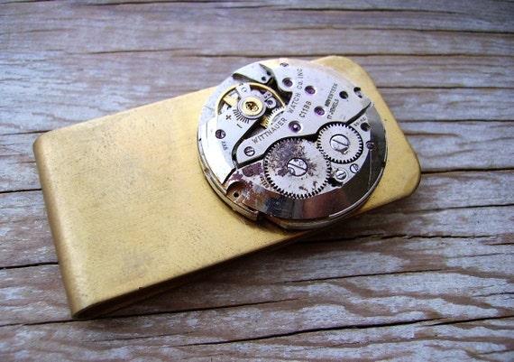 Steampunk Money Clip Distressed Brass Money Clip Billfold 17 Jewel Vintage Wittnauer Watch Movement