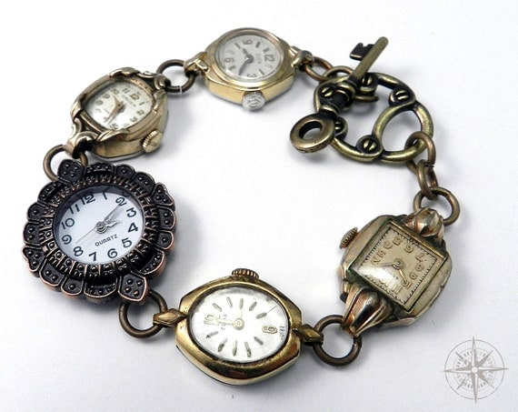 Steampunk Bracelet Vintage Wrist Watch WORKING Watch Bracelet Heirloom Collection Gold and Bronze Filigree handmade by Compass Rose Design