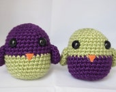 SALE Two Amigurumi Bird Rattle Toys in Pistachio and Plum (Or Choose CUSTOM Colors)--baby shower gender neutral boy girl diaper cake