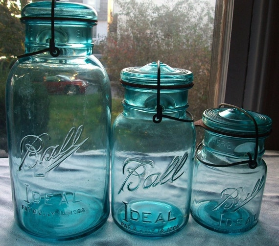 15 Vintage Blue Ball Ideal Fruit Jar Quarts Great for Weddings & Lanterns