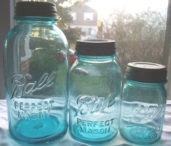 3 Vintage Blue Ball Mason Graduated Fruit Jars  Great for Centerpieces and Lanterns