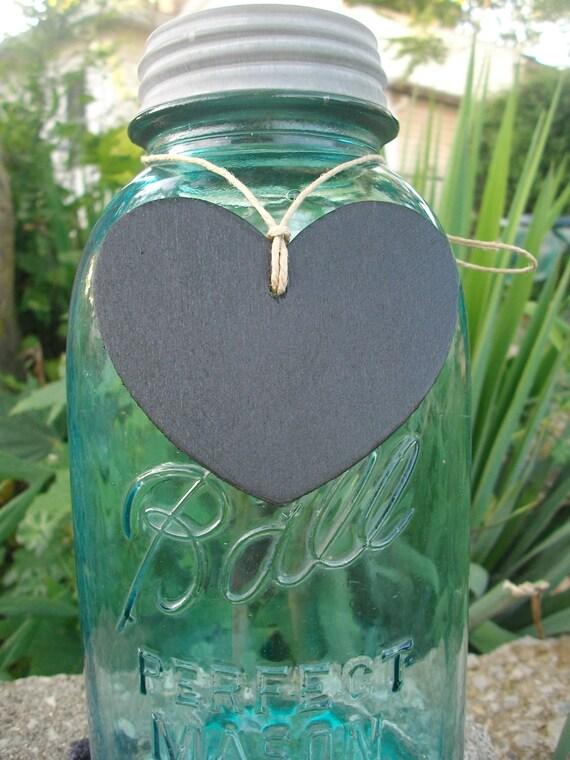 12 Heart Wood Chalkboard Labels Tags for Vintage Mason Jar & Vase Centerpieces