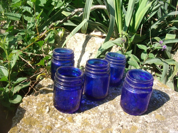 10 Vintage Cobalt Blue Jars  Great for Wedding Table Dishes