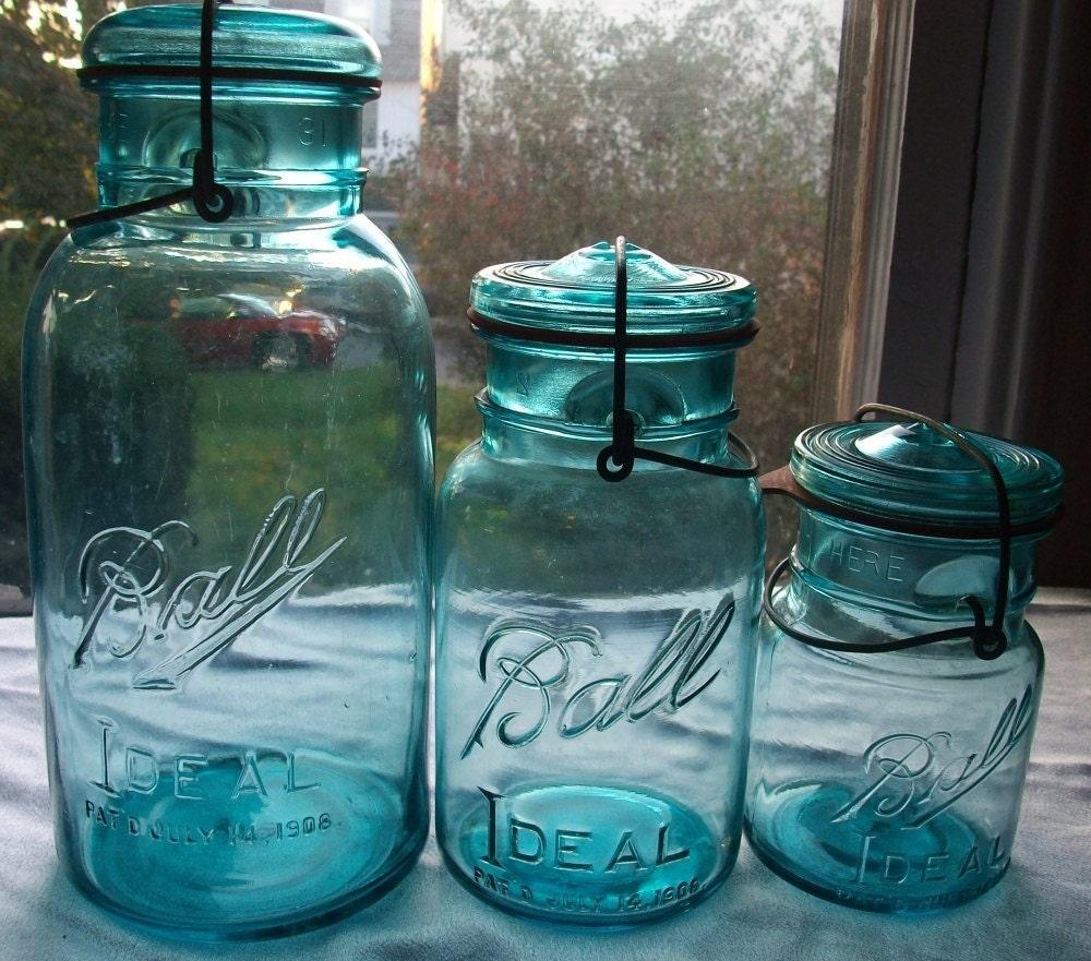 vintage blue ball ideal mason jars half gal qt pt. Black Bedroom Furniture Sets. Home Design Ideas