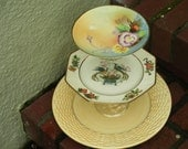 Whimsical 3 Tiered Yellow Bird and Floral Plate Stand