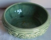 RESERVED--Pale Green Antique Majolica Pottery Dish