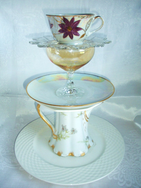 Multi-Tiered Plate Stand with Lovely French Teapot and Lustreware Tea Cup