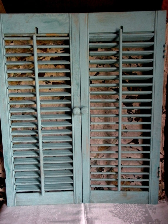 SUMMER SALE-15% OFF--Pair of Shabby Rustic Aqua-Washed Wood Shutters