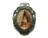 Tea Sipping Rabbit - Cameo Brooch