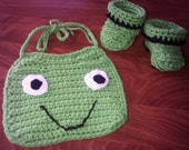 Frog Bib and Baby Booties Set