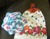 Flowered Crochet-Top Towel with Dish Cloth