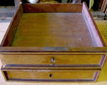 ANTIQUE DRAWERS w/ Key, Maple, Mahogany, Set of 2, Spooky Halloween Props, Salvage Furniture Parts