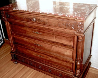 1880s French ANTIQUE LOUIS XVI European Walnut Chest Of Drawers