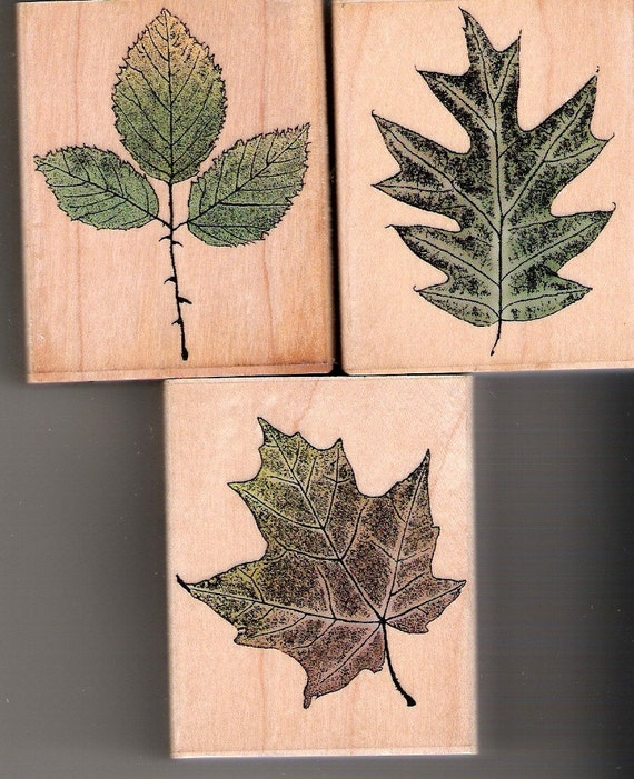 ETCHED LEAVES STAMPS SET OF 3