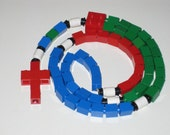 Blue, Green, and Red Catholic Lego Rosary