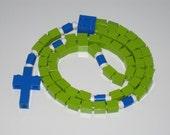 The Original Catholic Lego Rosary - Green & Blue Boys First Communion Gift