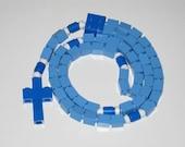 The Original Catholic Lego rosary - Blue Catholic Baptism Rosary  (Our Lady)