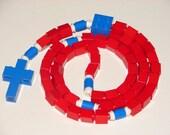 The Original Catholic Lego Rosary - Red and Blue Catholic Rosary for Boys Christmas Gift