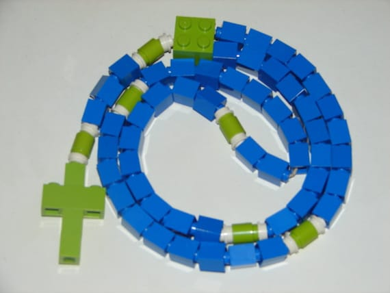 Blue and Green Catholic Rosary Made With LEGO Bricks