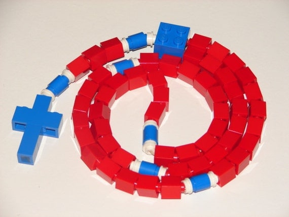 Red and Blue Catholic Rosary Made With LEGO bricks