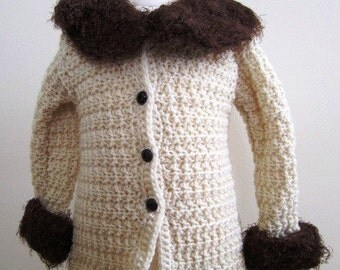 SALE Baby Coat Unisex Repro Vintage 20s Hand Crocheted Wool White - Size 6-12 Months