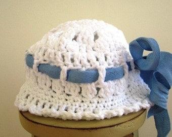 SALE Baby Bucket Hat Hand Crochet Cloche Vintage Style White Cotton Lace- 6 Months