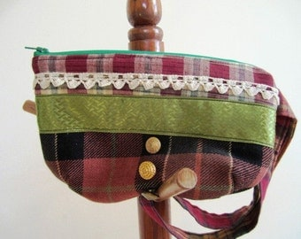 SALE Preppy Wristlet Plaid Wool Zipper Purse Embellished Patchwork - Size Small