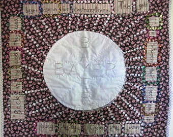 Feminist Quilt Reproductive Rights Birth Control Applique - Size 34.5 x 32 Inches