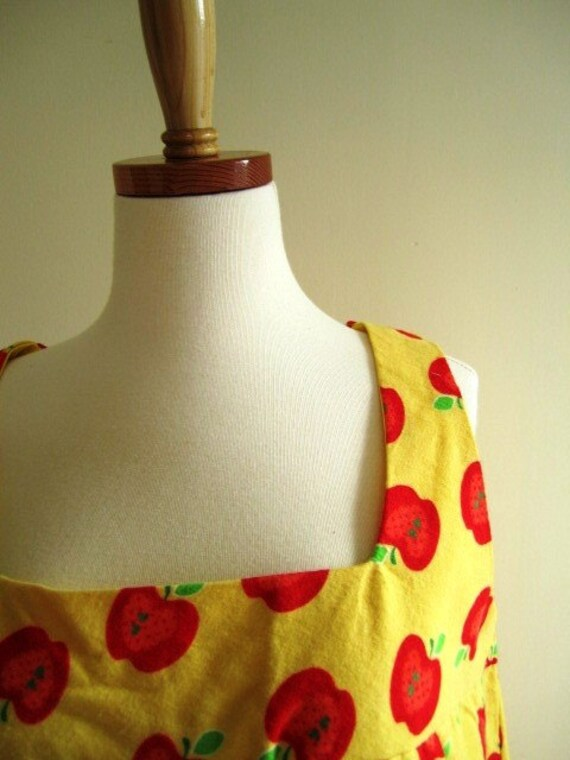 Jumper Dress Retro Vintage Style Apple Cotton Flannel Teacher Free U.S. Shipping - Size L