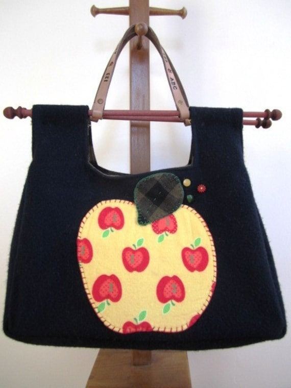 Teacher Tote Bag Felted Wool Retro Apple Applique' Tooled Leather Handle Free U.S. Shipping
