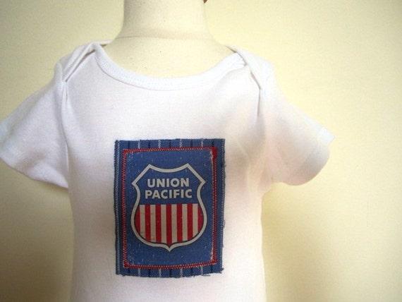 Railroad Onesie Union Pacific Toddler Bodysuit Baby Boy Free U.S. Shipping - Size 18 Months
