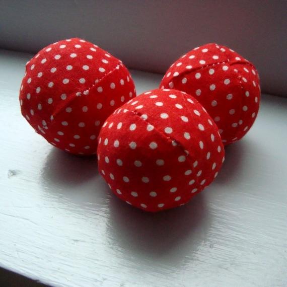 3 Tiny Polka Dot Catnip Balls cat toy