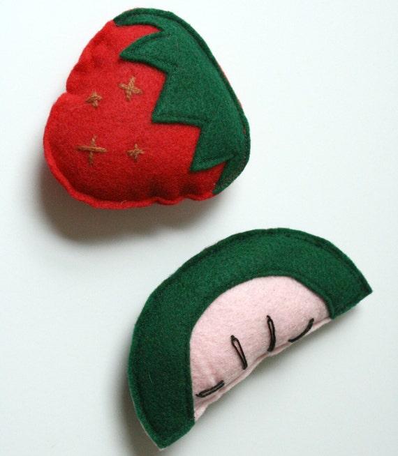 Strawberry and Watermelon Catnip Felt Cat Toys