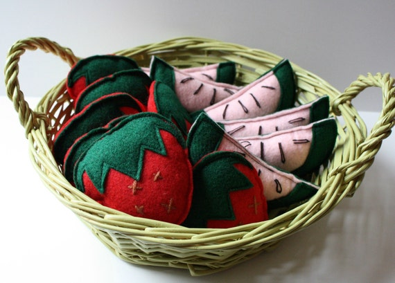 Strawberry and Watermelon Felt Catnip Cat Toys sale