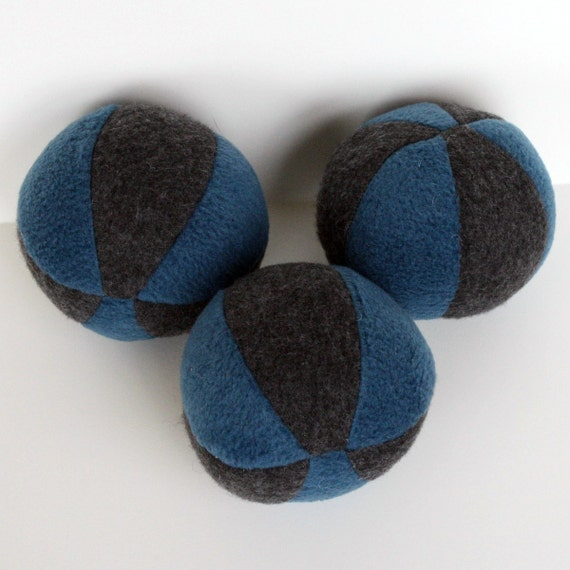 Blue and Gray Fleece Squeaky Dog Ball