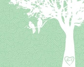 Whimsical Love Birds in the tree print on pattern background, 8x10, colors - TEAL, WHITE on patterned background,